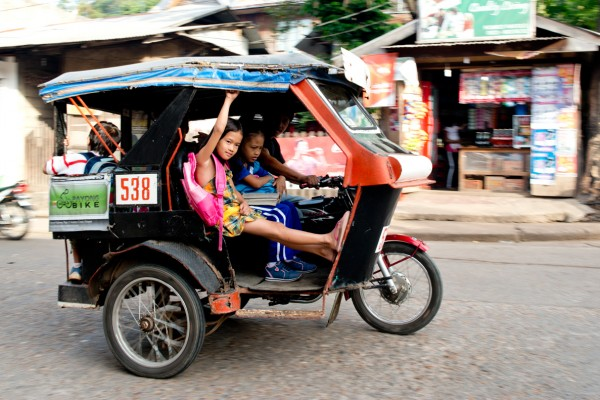 Way to school with a tuk-tuk